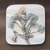 Картины и панно handmade. Livemaster - original item Nasturtium (18,5h18,5) Gypsum panels Botanical bas-relief. Handmade.