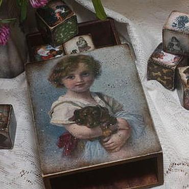Для дома и интерьера ручной работы. Ярмарка Мастеров - ручная работа Таксы (набор из короба с кубиками). Handmade.
