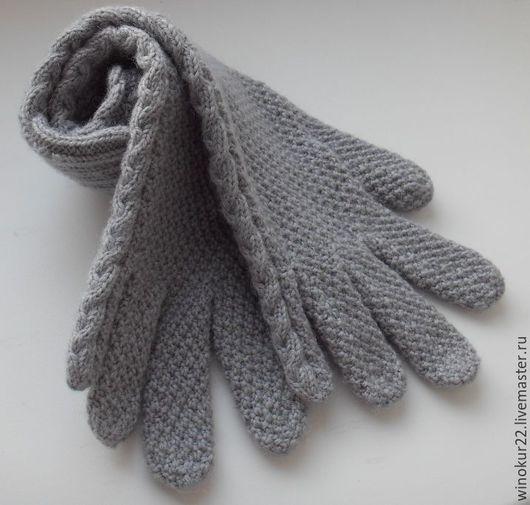 """Варежки, митенки, перчатки ручной работы. Ярмарка Мастеров - ручная работа. Купить Перчатки """"Перламутр"""" (шерсть). Handmade. Серый"""