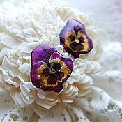 Украшения handmade. Livemaster - original item Transparent Earrings Pansy No. №2 Flowers. Handmade.