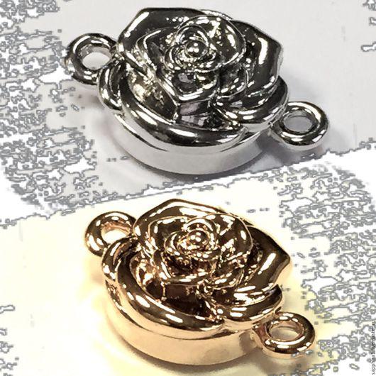Для украшений ручной работы. Ярмарка Мастеров - ручная работа. Купить Замочек магнитный Роза. Handmade. Золотой, замок для украшений