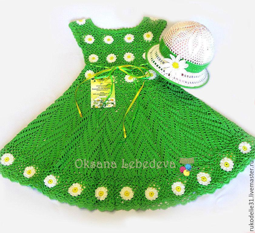 Вязание крючком для девочек сарафан ромашка 76