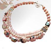 Украшения handmade. Livemaster - original item Necklace of pink opal and pearl