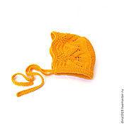 Работы для детей, manualidades. Livemaster - hecho a mano gorro para niñas, gorro para niña, color naranja. Handmade.