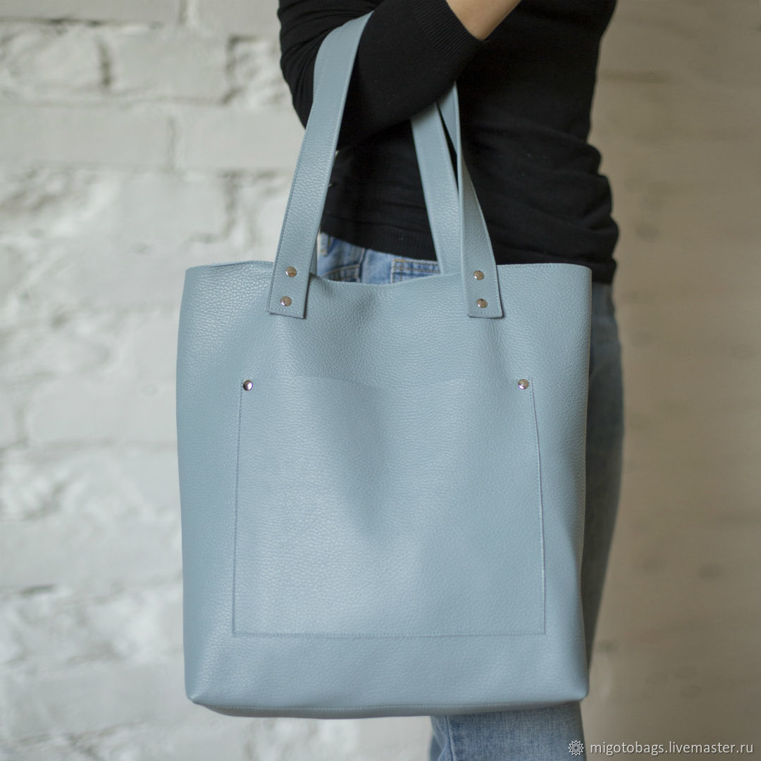 Women's blue leather bag, Classic Bag, St. Petersburg,  Фото №1