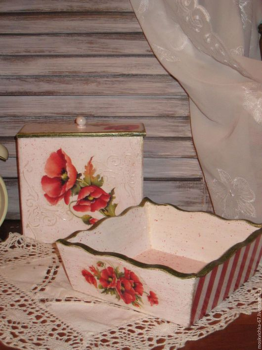 """Кухня ручной работы. Ярмарка Мастеров - ручная работа. Купить Набор для кухни """"МАКИ"""". Handmade. Комбинированный, кухонная утварь"""
