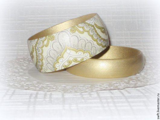 золотой светло-желтый роскошный восточный женский недорогой деревянный браслет орнамент недорого подарок что подарить девушке женщине сестре подруге маме жене на 8 марта день рождения дерево