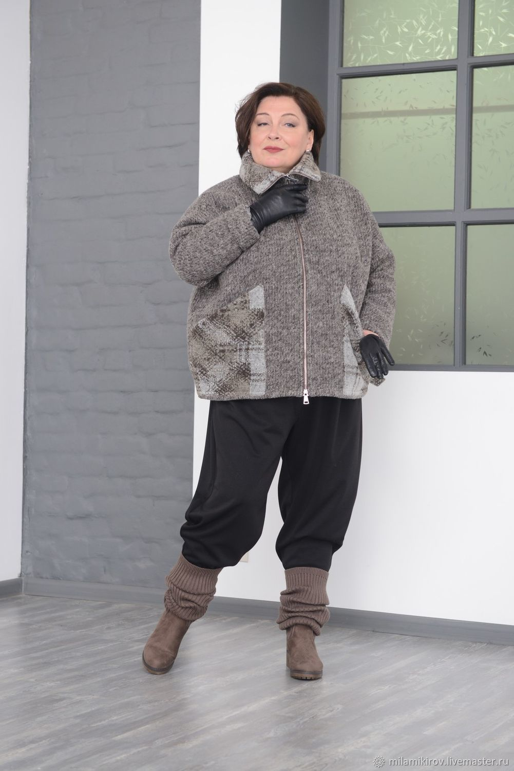 d76e13d8972 Plus Size handmade. Livemaster - handmade. Buy Insulated jacket combined  with wool knit boucle ...