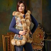 Одежда handmade. Livemaster - original item Vest of tapestry fabric with fox fur (GN000 / 70). Handmade.