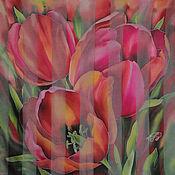 Аксессуары handmade. Livemaster - original item handkerchief Tulips. Handmade.