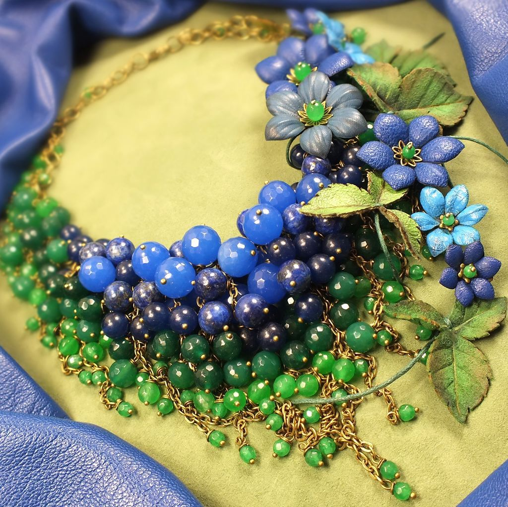 Blue - Green Parfait. Necklace made of natural stones, the colors of the skin, Jewelry Sets, St. Petersburg,  Фото №1
