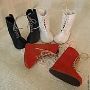 Куклы и игрушки ручной работы. Ярмарка Мастеров - ручная работа Обувь для кукол, БЖД и мишек тедди. Сапоги на шнуровке. Кожа .. Handmade.