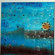 """Картины и панно ручной работы. Ярмарка Мастеров - ручная работа Батик панно """"Одуванчиковый вечер"""". Триптих. Модульная картина. Handmade."""