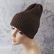 Аксессуары handmade. Livemaster - original item Merino wool beanie hat, knitted, pumpkin. Handmade.