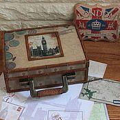 """Для дома и интерьера ручной работы. Ярмарка Мастеров - ручная работа Шкатулка-чемодан """"Путешествие в Лондон"""". Handmade."""