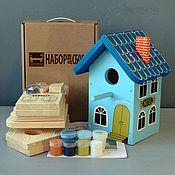 """Для дома и интерьера ручной работы. Ярмарка Мастеров - ручная работа Скворечник """"Отель Синий"""" набор для сборки с красками и контурами. Handmade."""