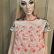 Одежда handmade. Livemaster - original item Blouse with de-coring and embroidery in a flower. Handmade.