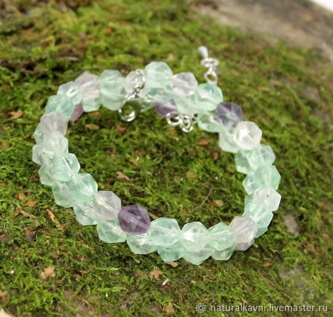 Two-row delicate bracelet made of natural fluorite, Bead bracelet, Moscow,  Фото №1