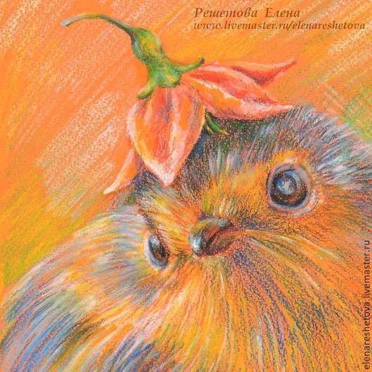 Пастель картина `Модная шляпка`. Фрагмент. Рисунок пастелью. Картины лета. Рисунки животных. Нежные цветы. Пастель цветы. Птица синичка. Купить рисунок. Картина в подарок. Подарок подруге.