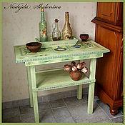 Оливковый столик деревянный для специй и масла