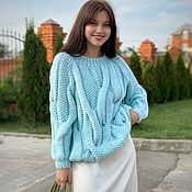 Одежда handmade. Livemaster - original item Jerseys: Sweater with large braids of mint color oversize. Handmade.
