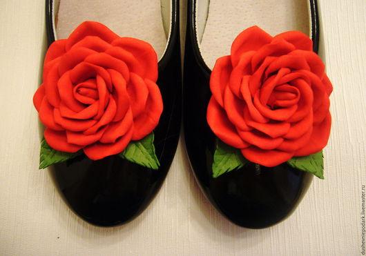 """Украшения для ножек ручной работы. Ярмарка Мастеров - ручная работа. Купить Броши для обуви """"Розы"""". Handmade. Фом, цветы из фоамирана"""