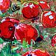 Пейзаж ручной работы. Яблоки. K&ART. Ярмарка Мастеров. Малиновый, картина в подарок, картина маслом