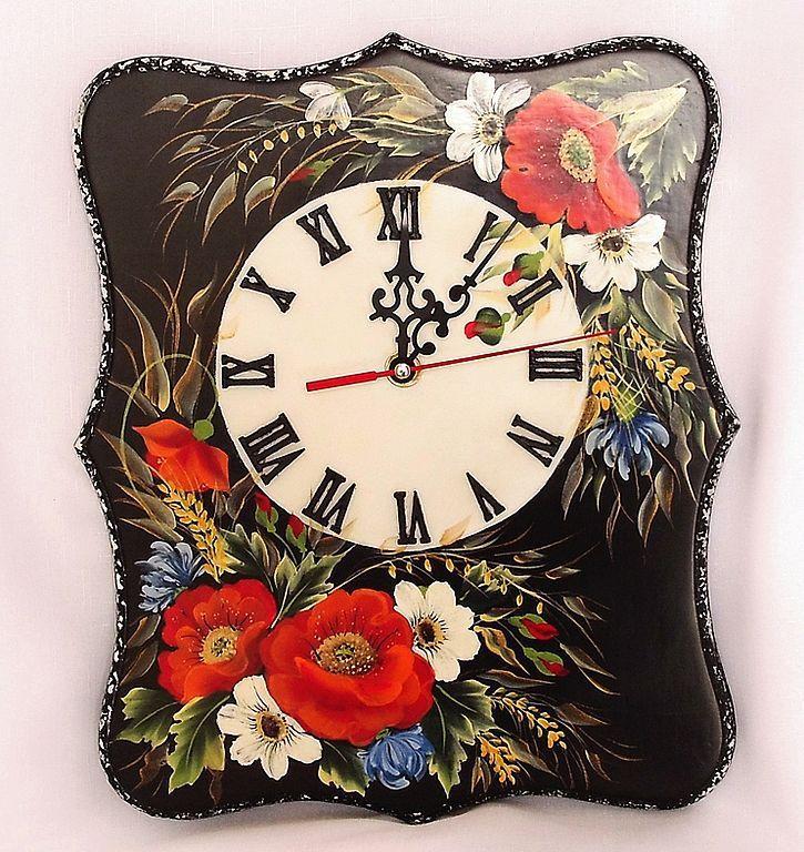 """Часы  интерьерные с росписью   """" Полевые цветы"""", Watch, ,  Фото №1"""