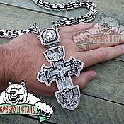Подвеска ручной работы. Ярмарка Мастеров - ручная работа Вес 130 грамм, Родированное серебро 925 крест с ликами святых. Handmade.