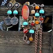 Украшения handmade. Livemaster - original item Necklace and earrings copper BOHO stones