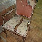 Винтаж ручной работы. Ярмарка Мастеров - ручная работа Реставрация и перетяжка старого кресла.. Handmade.