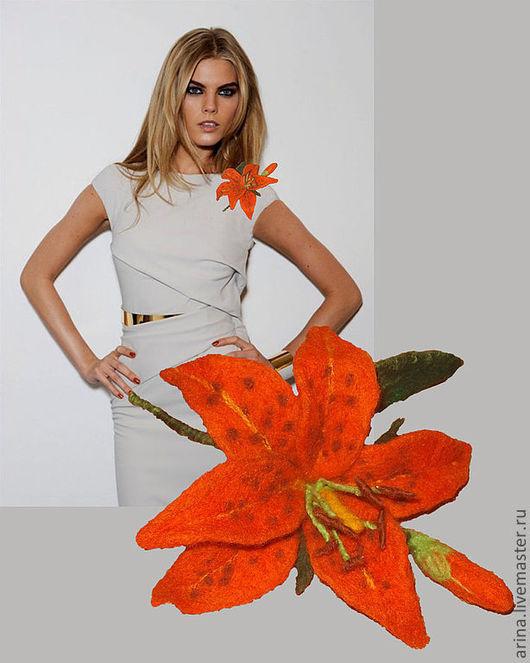 Цветы ручной работы. Ярмарка Мастеров - ручная работа. Купить валяный цветок -брошь Лилия тигровая. Handmade. Оранжевый, Валяние