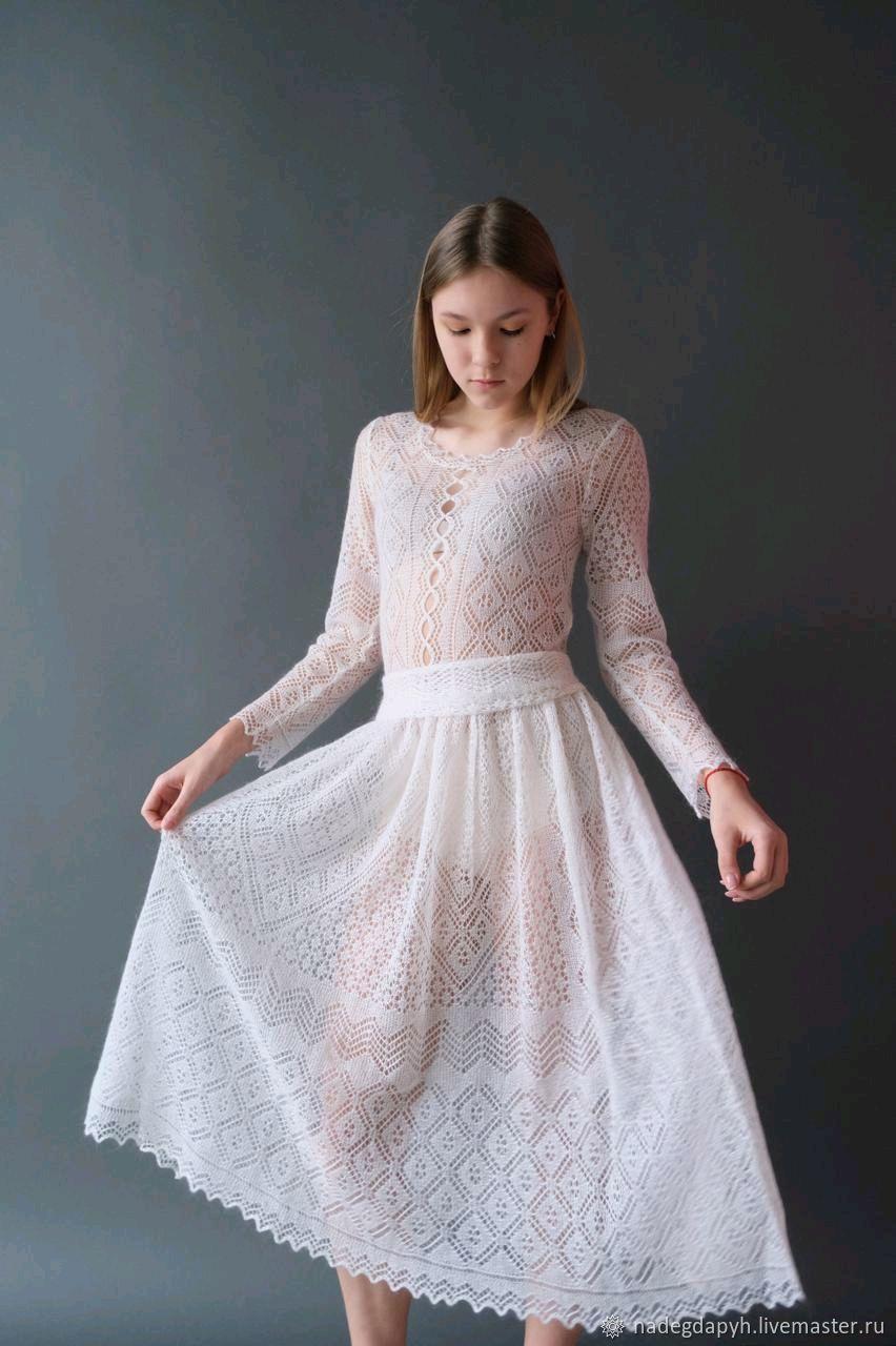 296 платье женское вязаное пуховое ажурное белое одежда, Платья, Оренбург,  Фото №1