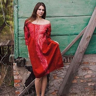 Одежда ручной работы. Ярмарка Мастеров - ручная работа Красное платье-баллон. Handmade.