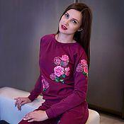 Одежда ручной работы. Ярмарка Мастеров - ручная работа Костюм с вышивкой из итальянского трикотажа. Handmade.