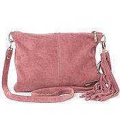 Сумки и аксессуары handmade. Livemaster - original item Pink Crossbody Bag Suede Leather with Shoulder Strap. Handmade.