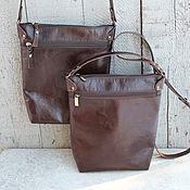 Сумки и аксессуары ручной работы. Ярмарка Мастеров - ручная работа Кожаная сумка темно-коричневый планшет. Handmade.