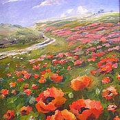 Картины и панно handmade. Livemaster - original item poppies. Poppy field Painting oil on canvas 30на40. Handmade.