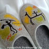 """Обувь ручной работы. Ярмарка Мастеров - ручная работа мужские тапочки """" Наскальные рисунки"""". Handmade."""
