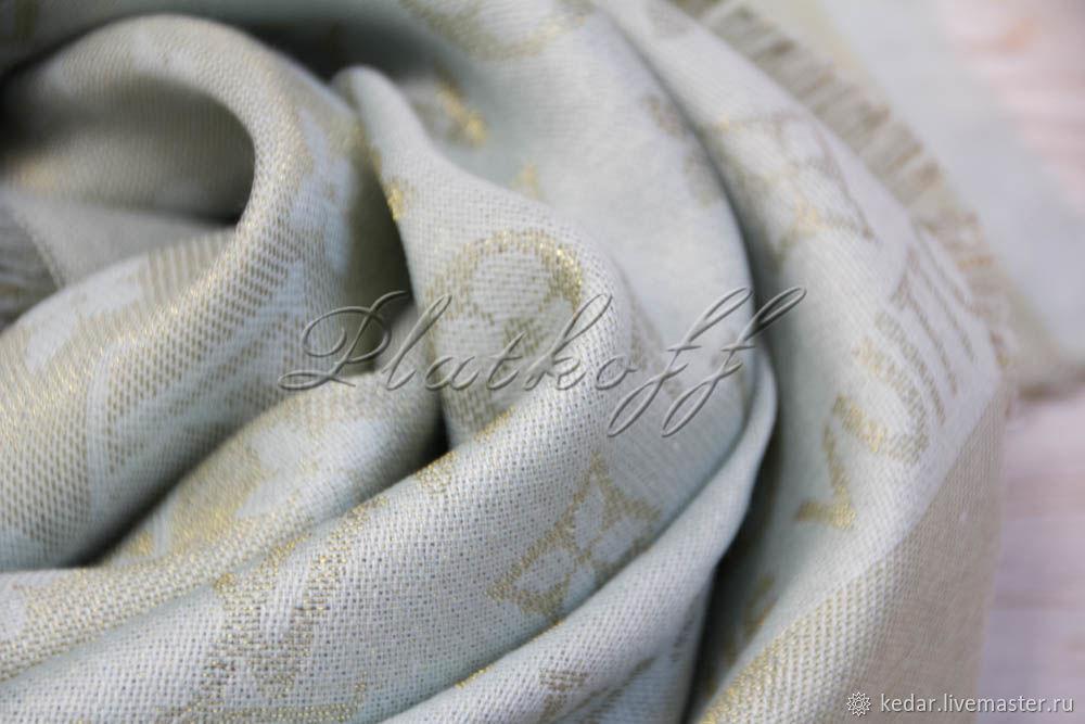 Мятная шаль monogramm  из ткани louis Vuitton, Шали, Москва,  Фото №1