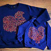 Одежда ручной работы. Ярмарка Мастеров - ручная работа Огненный петух. Свитшоты с ручной росписью для всей семьи. Handmade.