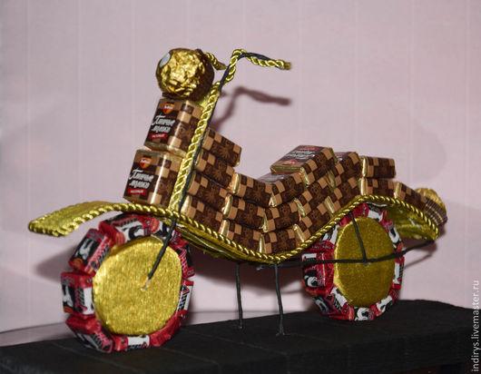 Персональные подарки ручной работы. Ярмарка Мастеров - ручная работа. Купить Мотоцикл из конфет. Handmade. Разноцветный, подарок сыну