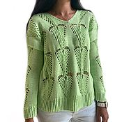 Одежда handmade. Livemaster - original item Women`s Lotus pullover, cotton, openwork knitting, green. Handmade.