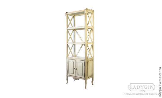 Узкая высокая этажерка с дверками в стиле прованс от  Ladygin
