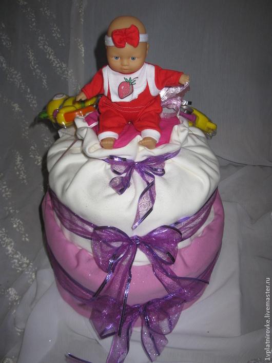 """Подарки для новорожденных, ручной работы. Ярмарка Мастеров - ручная работа. Купить Торт из подгузников """"Очарование"""". Handmade. Торт из памперсов, подгузники"""
