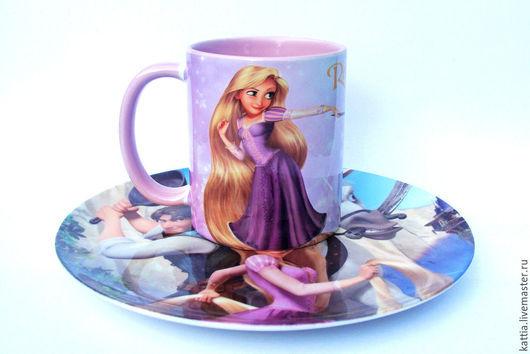 """Тарелки ручной работы. Ярмарка Мастеров - ручная работа. Купить Детский набор посуды""""Рапунцель"""" .. Handmade. Розовый, лошадь, тарелка, оригинальный"""