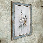 Картины и панно ручной работы. Ярмарка Мастеров - ручная работа картина акварелью Зимний замок (в рамочке состаренной вручную, голубой. Handmade.