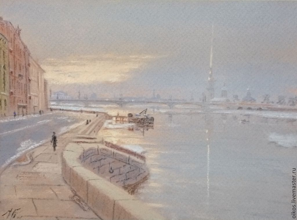 Painting with pastels - the bridge and rain in St. Petersburg, Pictures, St. Petersburg,  Фото №1
