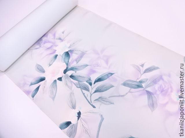 Japanese silk 'Gray-blue haze', Fabric, Chelyabinsk,  Фото №1