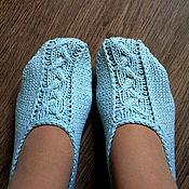 """Обувь ручной работы. Ярмарка Мастеров - ручная работа Тапочки-следки вязаные """"Прованс"""" Хлопок. Handmade."""